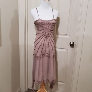 1920s style crepe and beaded flapper dress small